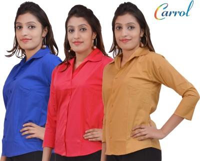 carrol Women,s, Girl's Solid Formal, Casual Blue, Pink, Brown Shirt