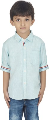 SuperYoung Boy's Solid Casual Blue Shirt