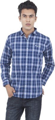 Eden Elliot Men's Checkered Casual Dark Blue Shirt