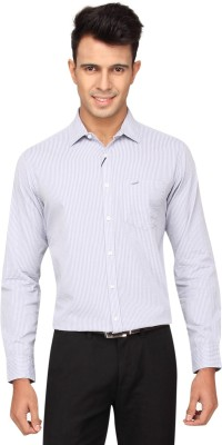 Crocodile Men's Striped Formal Grey Shirt