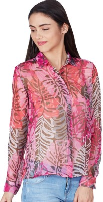 American Swan Women's Printed Formal Purple Shirt