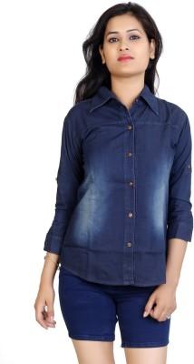 F Fashion Stylus Women's Solid Casual Denim Dark Blue Shirt