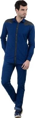 Piccolo Clothings Men's Checkered Casual Blue Shirt