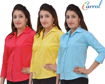 carrol Women,s, Girl's Solid Formal, Casual Yellow, Blue, Red Shirt