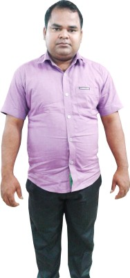 Sarif Log Men's Solid Formal Purple Shirt