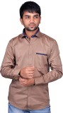 DreamOne Men's Solid Formal Brown Shirt