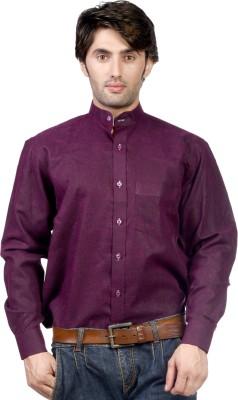 Hugo Chavez Men's Solid Formal Linen Purple Shirt