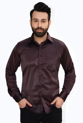 Big Brother Men's Solid Party, Casual, Wedding, Festive Brown Shirt