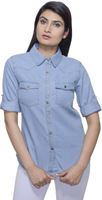 Addyvero Women's Solid Formal Denim Light Blue Shirt at flipkart