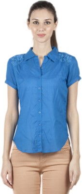 Bkind Women's Solid Casual Blue Shirt