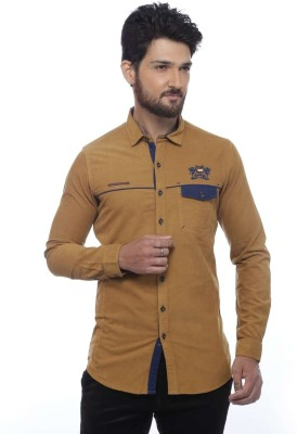 Apris Men's Woven Casual Brown Shirt