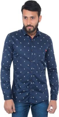 GreyBooze Men's Printed Casual Blue Shirt