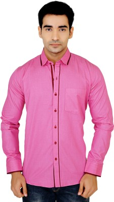 X-Secret Men's Self Design Casual Pink Shirt