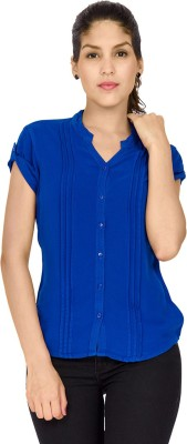 Identiti Women,s Solid Casual Blue Shirt