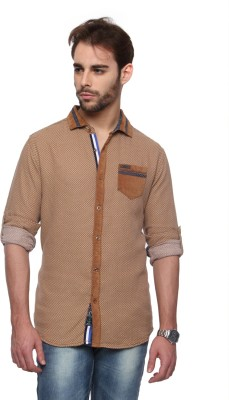 The Indian Garage Co. Men,s Self Design Casual Beige Shirt