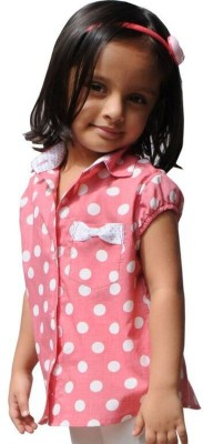 Snowflakes Girl's Printed Casual Red Shirt