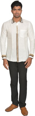 DoubleF Men's Solid Party White Shirt