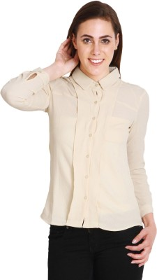 SOIE Women's Solid Casual Beige Shirt