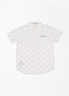 Pepe Jeans Boy's Printed Casual White Shirt