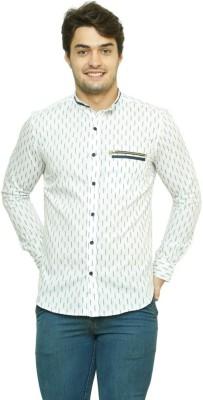 99 Hunts Men's Printed Casual White Shirt