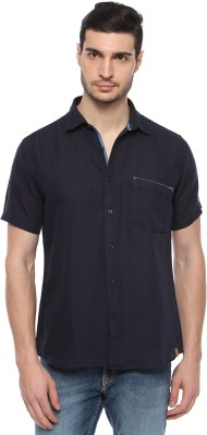 FERROUS Men's Solid Casual Dark Blue Shirt