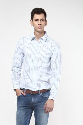 Remo Men's Checkered Formal White, Blue Shirt