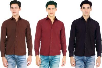 Atmosphere Men's Solid Casual Brown, Maroon, Black Shirt