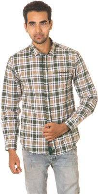 West Vogue Men's Checkered Casual Green Shirt