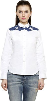 see Designs Women's Solid Casual White Shirt