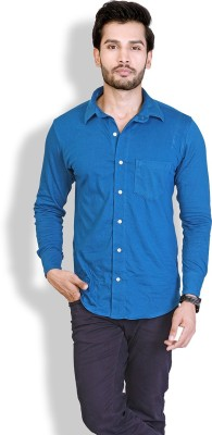 LUCfashion Men's Solid Casual Blue Shirt