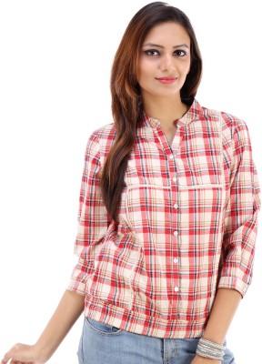 Urban Religion Women's Checkered Casual White Shirt