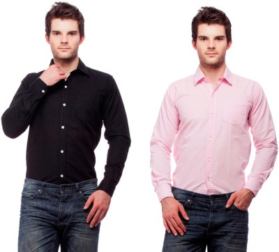 Fedrigo Men's Solid Casual Black, Pink Shirt