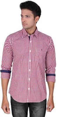 Dave Men's Checkered Casual Maroon Shirt