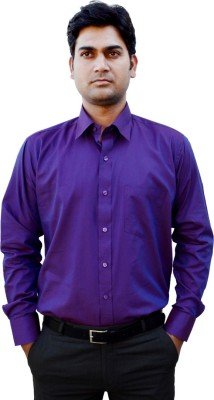 Indian Weller Men's Solid Formal Purple Shirt