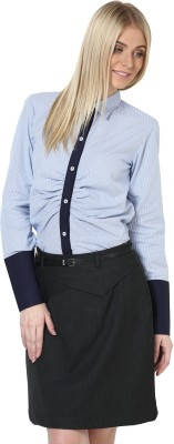 Dazzio Womens Striped Formal Blue Shirt