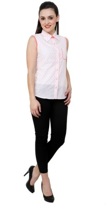 Aardee Women's Solid Casual White Shirt