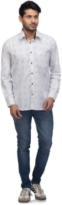 A A Store Men's Printed Casual White Shirt