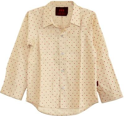 My Little Lambs Boy's Polka Print Casual Beige Shirt
