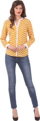 Eyelet Women's Printed Casual Yellow Shirt