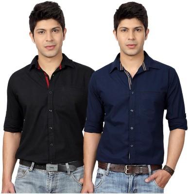 Top Notch Men's Solid Casual Black, Dark Blue Shirt