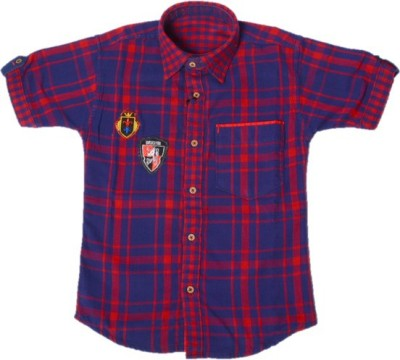 Way2Style Boy's Checkered Casual Red, Dark Blue Shirt