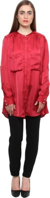 XnY Women's Solid Formal Red Shirt