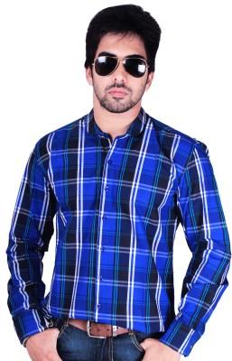 Flutter Men's Checkered Casual Blue Shirt