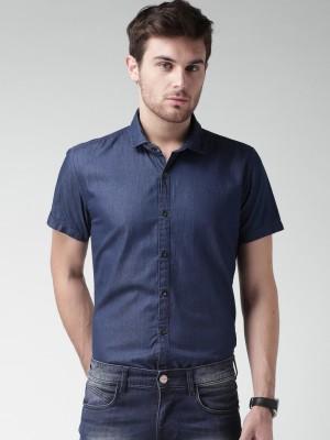 Mast & Harbour Men's Solid Casual Blue Shirt