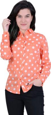 Juniper Women's Polka Print Casual Orange, White Shirt