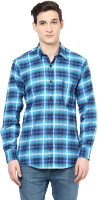 Urbano Fashion Men's Checkered Casual Blue, White Shirt