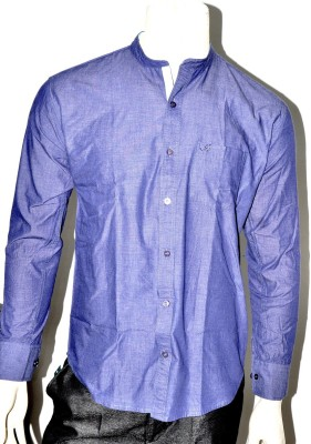 Indian Touch Men,s Solid Casual Purple Shirt