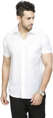 All Seasons Men's Solid Casual Linen White Shirt
