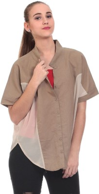 Saiints Women's Solid Casual Brown Shirt