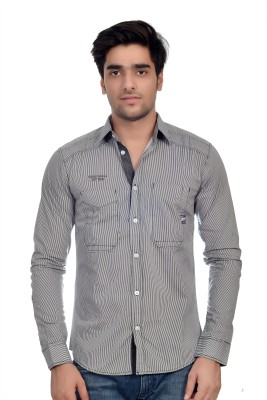 Parv Collections Men's Striped Casual Grey Shirt
